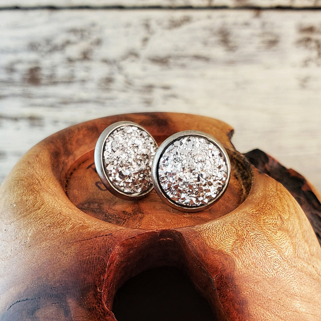 Silver Druzy Post Earrings - Jax Allen Designs