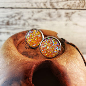 Orange Druzy Post Earrings - Jax Allen Designs