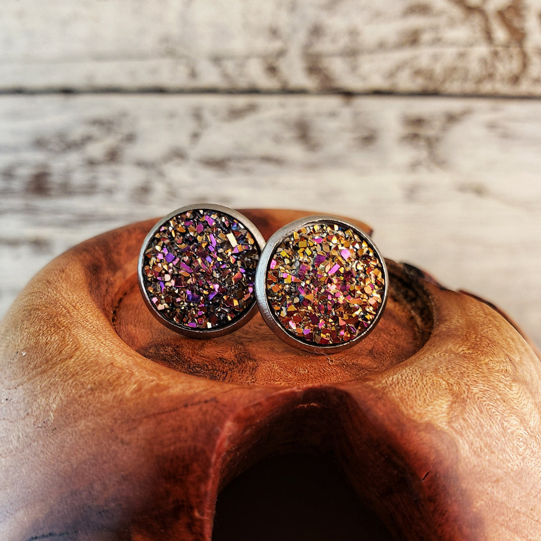 Rainbow Druzy Post Earrings - Jax Allen Designs