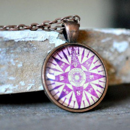 Dusty Rose Compass Pendant Necklace - Jax Allen Designs