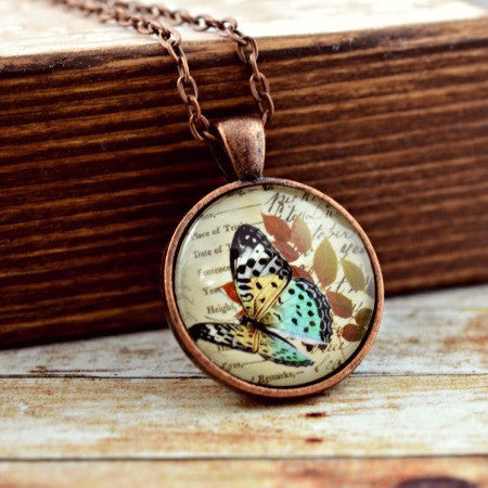 Butterfly Pendant Necklace : Botanical Butterfly - Lizabettas