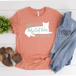 Late Cat Lover T Shirt - Heather Orange - Jax Allen Designs