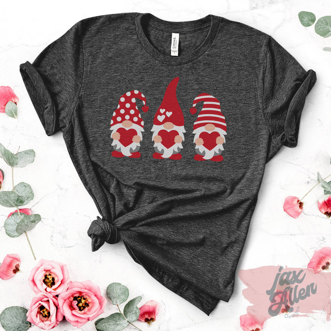 Valentine's Gnome - Valentine's Day Shirt for Women, Gnome Shirt, Gnome Gifts, Sweet Friends, Popular Gifts, Dark Grey Shirt
