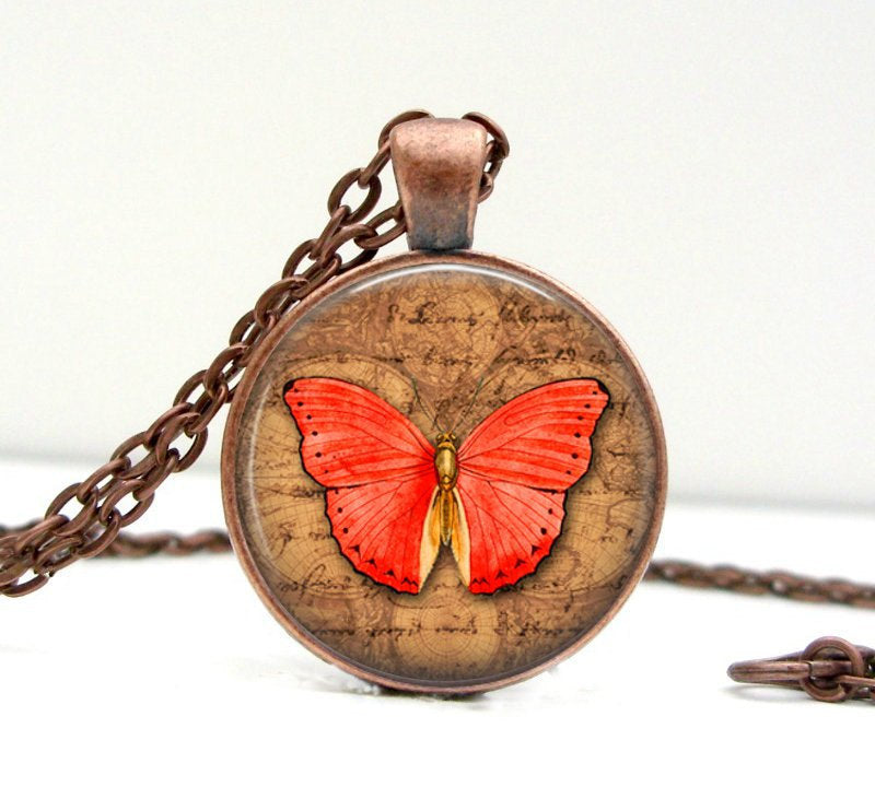 Butterfly Necklace: Red and Brown. Pendant. Charms. Art. Butterfly Jewelry. Copper Jewelry (1400) - Jax Allen Designs