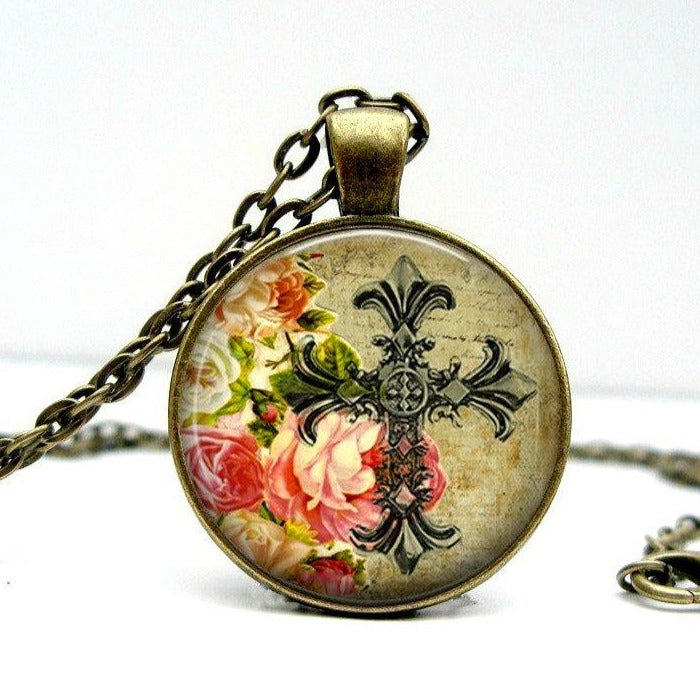 Cross Floral Necklace Glass Picture Pendant Photo Pendant (1130) - Jax Allen Designs
