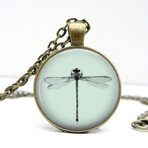 Dragonfly Necklace - Light Blue Vintage Bronze - Jax Allen Designs