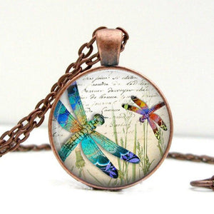 Jewel Dragonflies Necklace : Glass Art Pendant Picture Pendant Photo Pendant (1608) - Jax Allen Designs