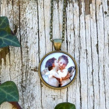 First Kiss Necklace - Cherub Angel Pendant - Pendant Necklace - Angel Jewelry - Jax Allen Designs