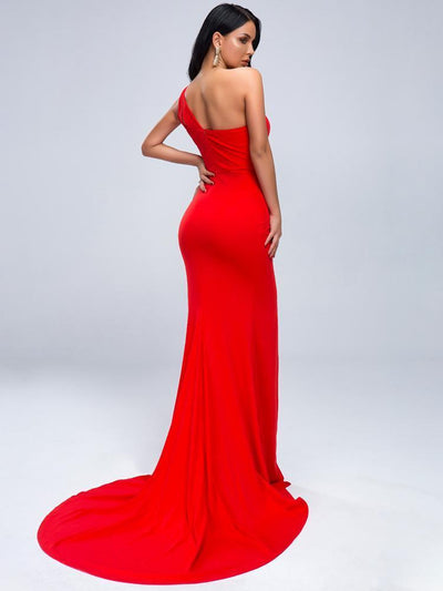 Claire One Shoulder Red Dress