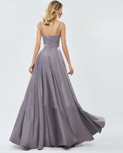 Evanna Satin Formal Gown - Grey