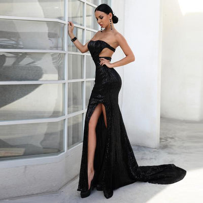 Riley Black Sequin Gown
