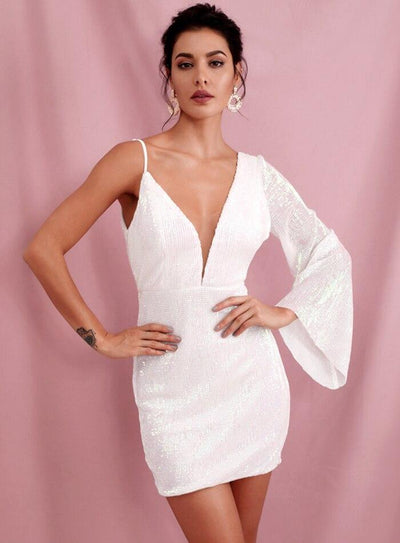 Amara White Sequins Dress