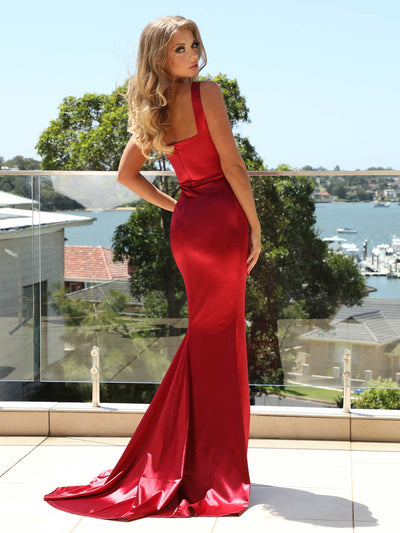 Cora Satin Gown - Wine Red