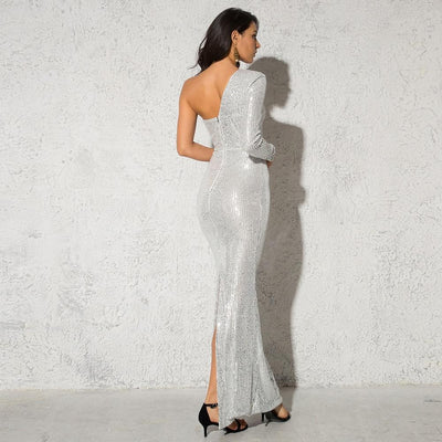 Anya Sequins One Sleeve Gown - Silver