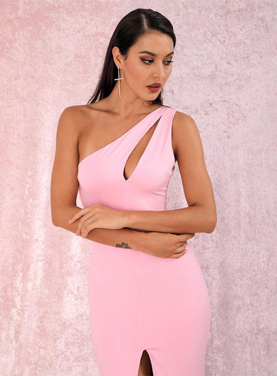 Mikayla One Shoulder Gown - Pink