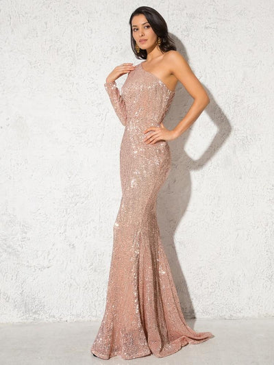 Anya Sequins One Sleeve Gown - Champagne