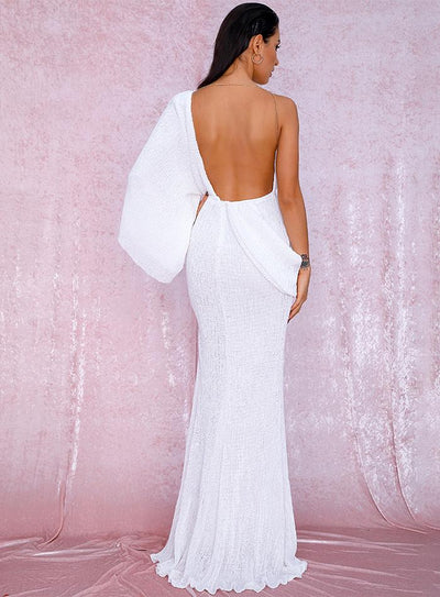 Milano Sequins Gown - White