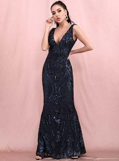 Savannah Navy Sequins Gown