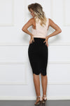 Brianna Scalloped Black Midi Skirt