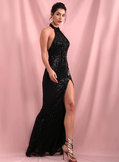 Tessa Sequins Gown - Black