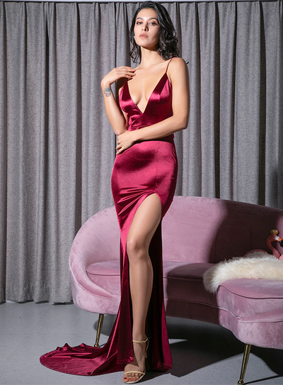 Envy Satin Gown - Burgundy