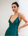 Darcia Satin Gown - Emerald Green