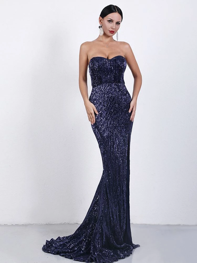 Eliza Sequins Navy Gown