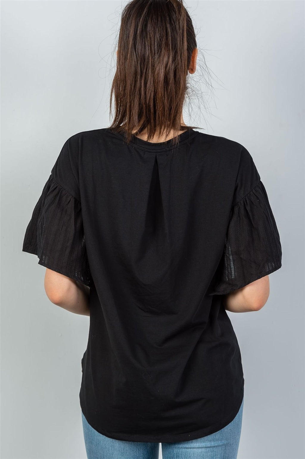 Ladies fashion black split short sleeve top
