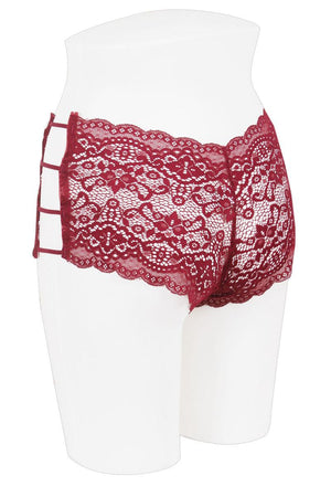 Ladies plus size caged lace hipster