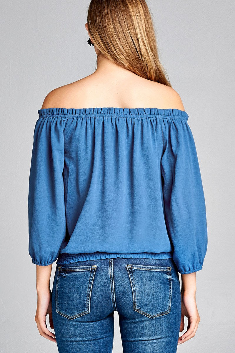 Ladies fashion 3/4 sleeve off the shoulder waist band w/front self tie back smocked detail crepe woven top
