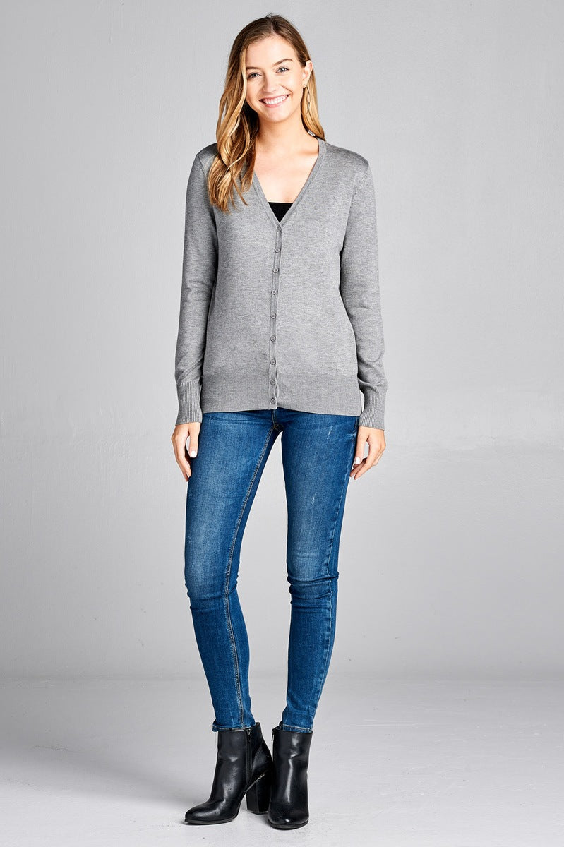 Ladies fashion long sleeve v-neck classic sweater cardigan