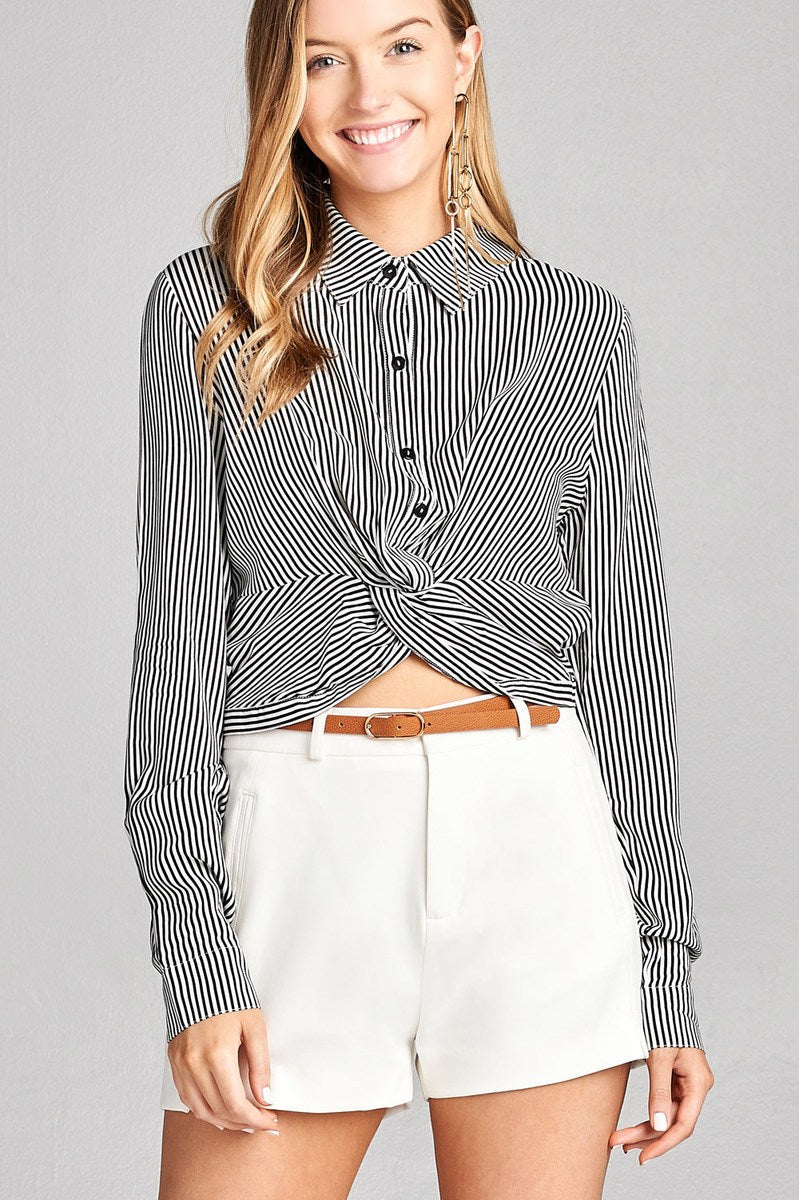 Ladies fashion long sleeve front knot w/button stripe rayon challis woven top