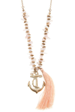 Anchor tassel pendant chipped gem necklace set