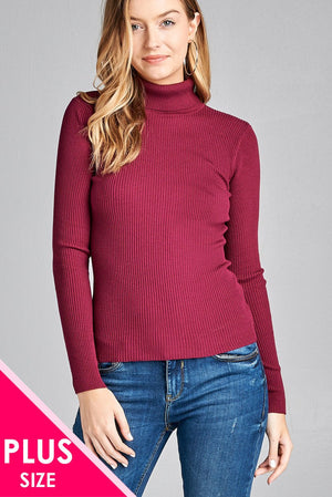 Ladies fashion plus size long sleeve turtle neck fitted rib sweater top