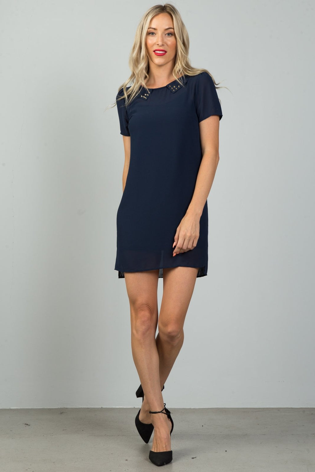 Ladies fashion navy sheer overlay mini dress