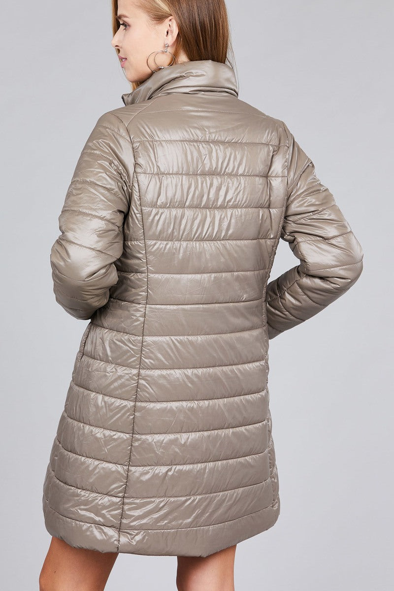 Long sleeve quilted long padding jacket