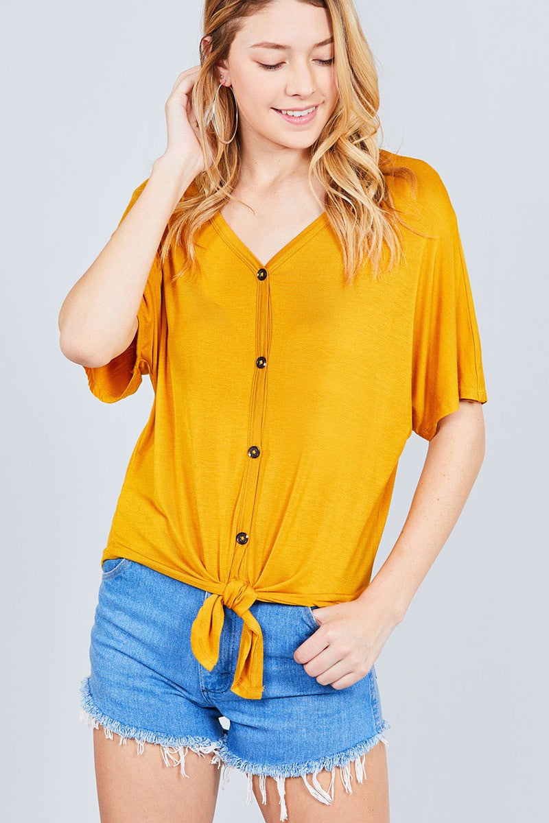 Short Dolman Sleeve V-neck W/button Detail Front Tie Rayon Spandex Cardigan
