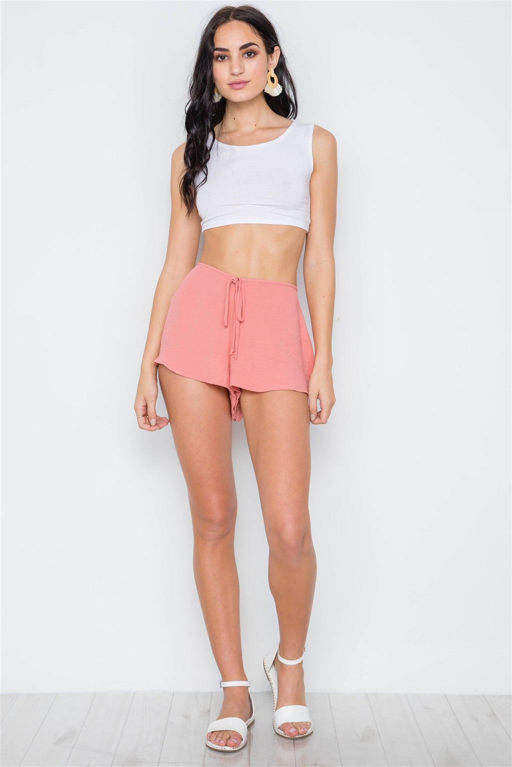 Mid-rise Light Crinkled Self Tie Shorts