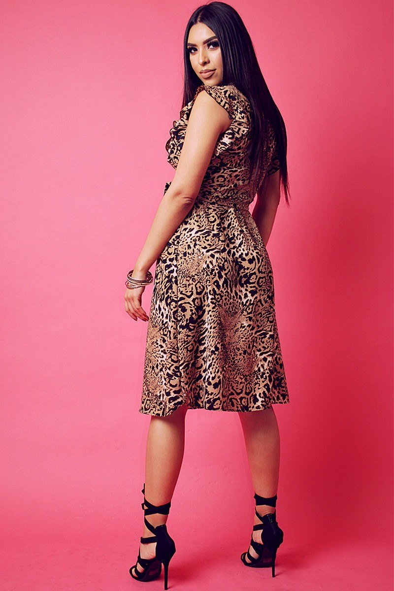 Animal Print Chiffon, Sleeveless Wrapped Dress With V Neckline And Ruffled Trim