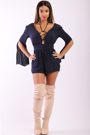 Solid, Short Romper With 3/4 Sleeves, Slits, Lace Up V Neckline And Stretchy Waist