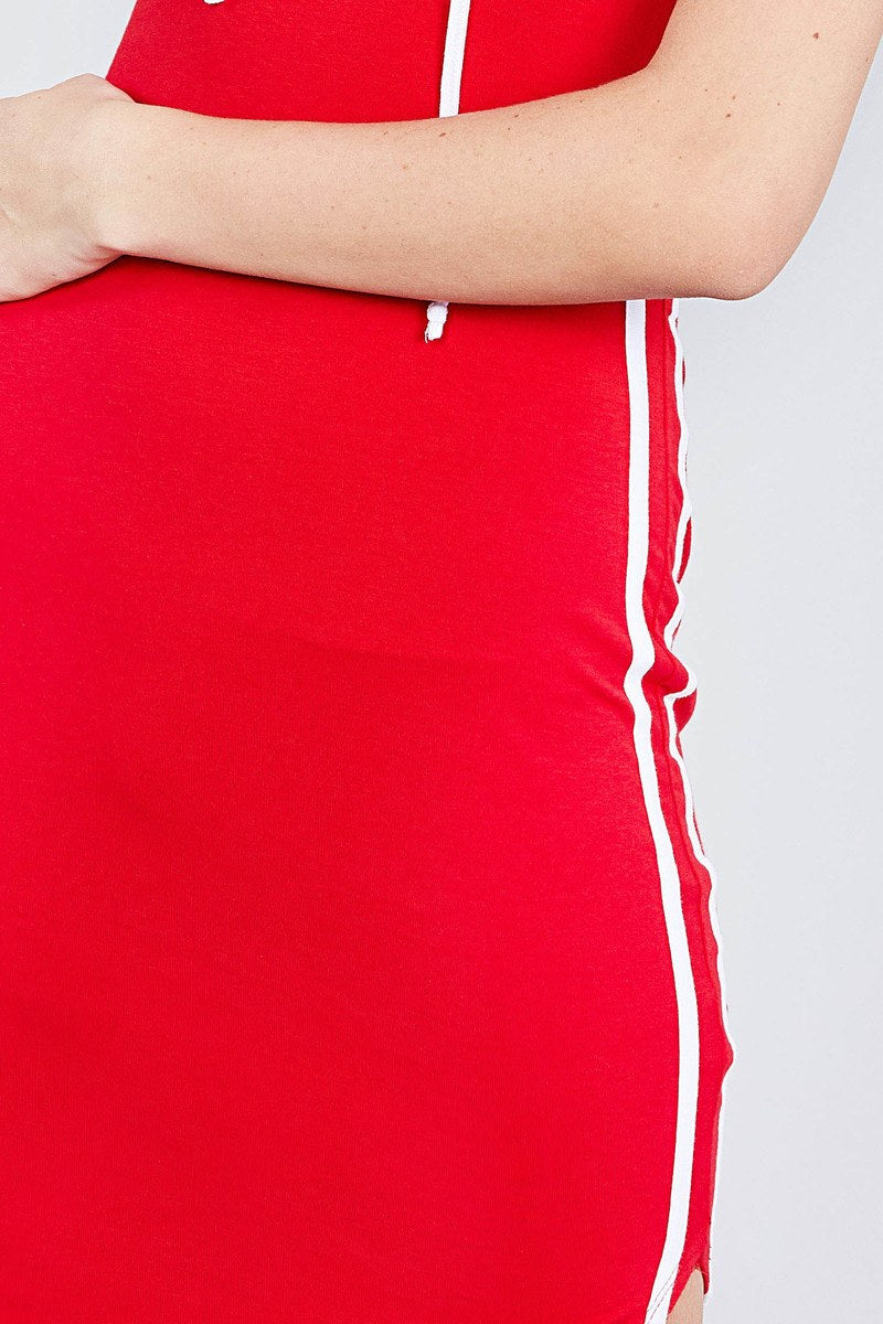 Sleeveless W/side Stripe Drawstring Hoodie Cotton Rayon Spandex Mini Dress