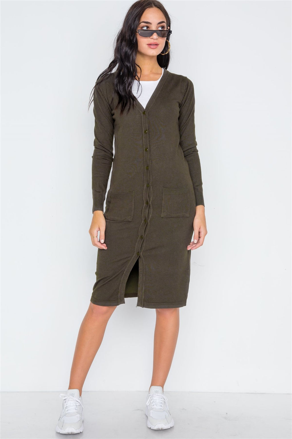 Button Front Long Line Cardigan
