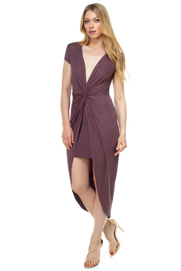 Deep V-neck Jersey Tunic Dress