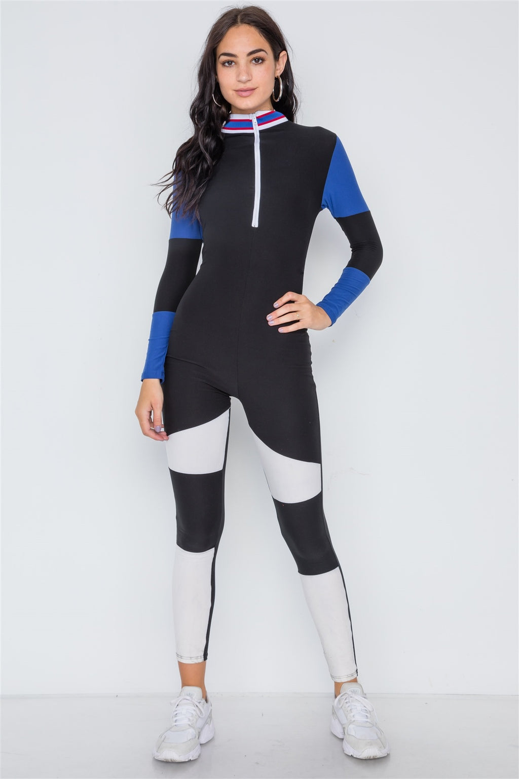 Blue Black Color Block Long Sleeve Zip-up Jumpsuit