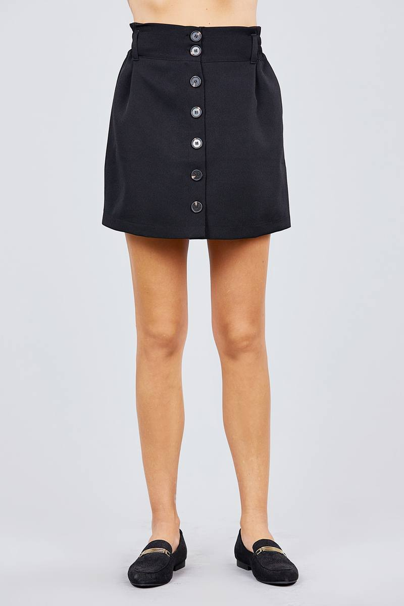 High Waist Smocking Detail Button Down Mini Skirt