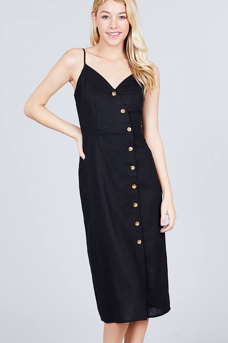 V-neck Surplice Button Down Midi Linen Dress