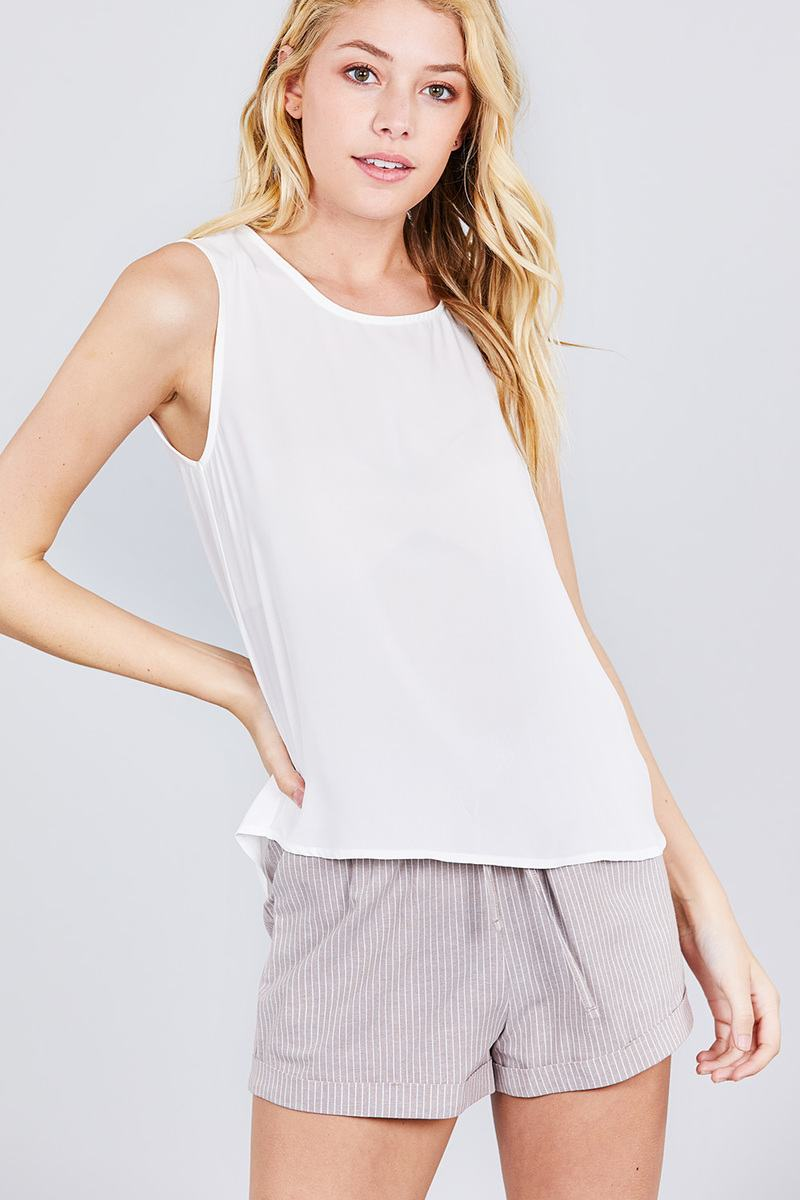 Sleeveless Round Neck Back Button Detail Woven Top
