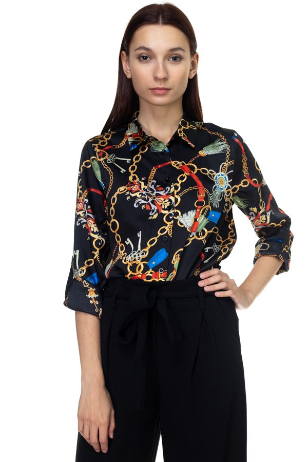 Long Sleeve Scarf Print Shirt