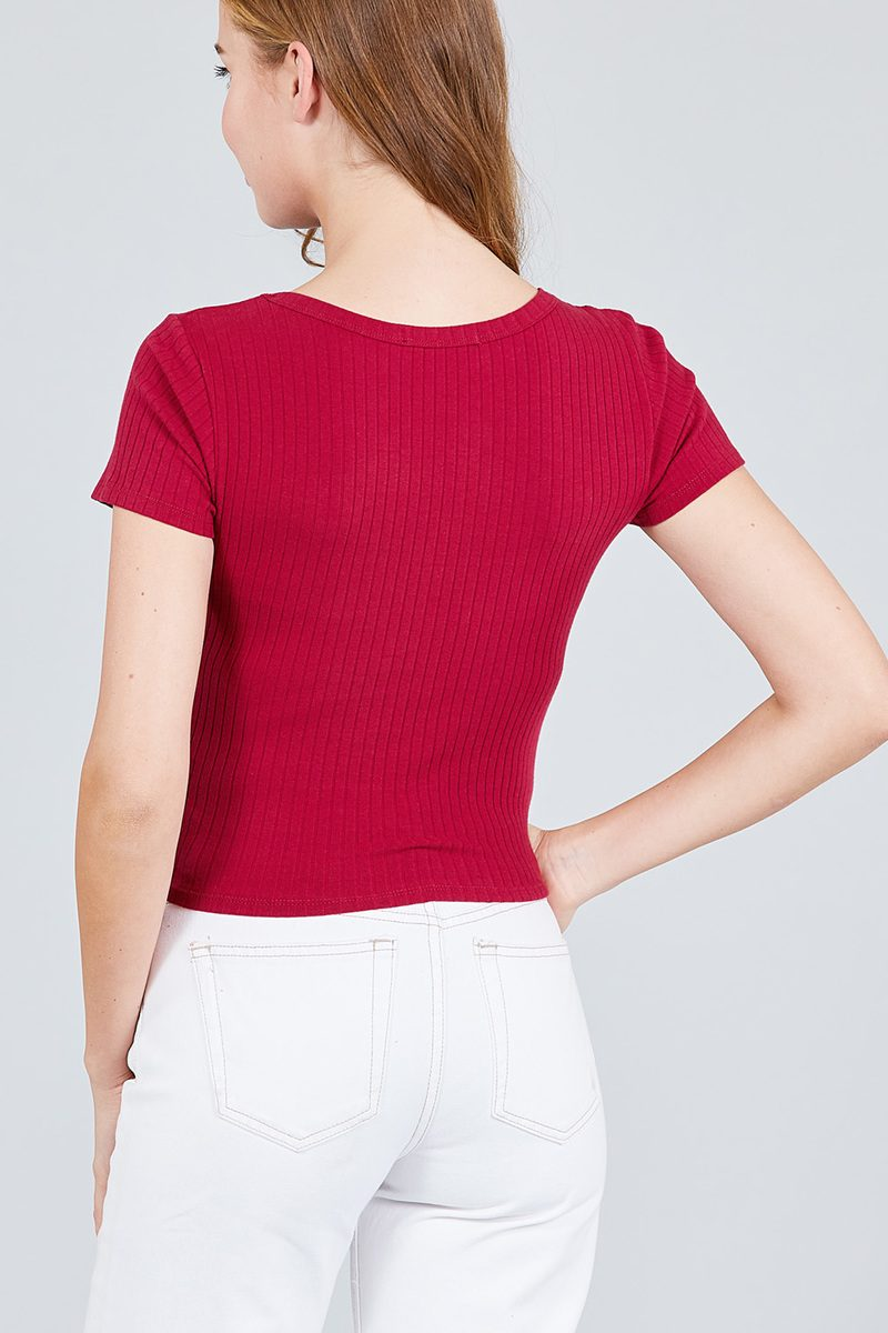 Short Sleeve Button Placket Henley Rib Knit Top