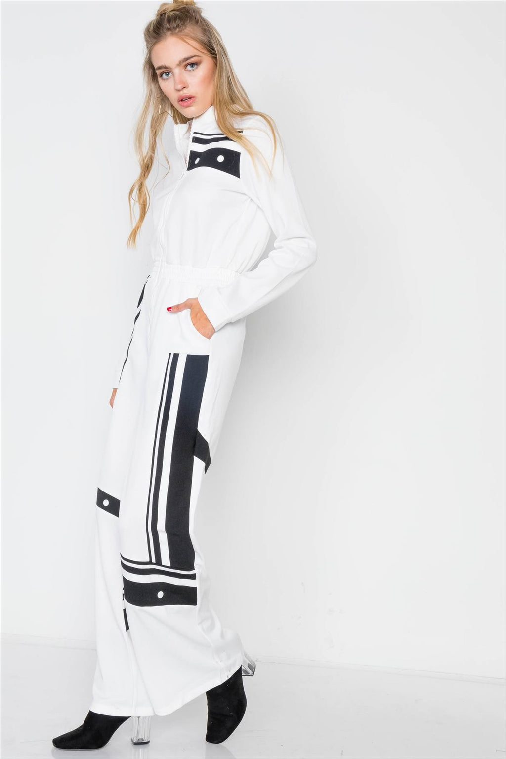 White Knit Color Block Zip-front Long Sleeve Jumpsuit